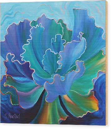Wood Print featuring the painting Sapphire Solitaire by Sandi Whetzel