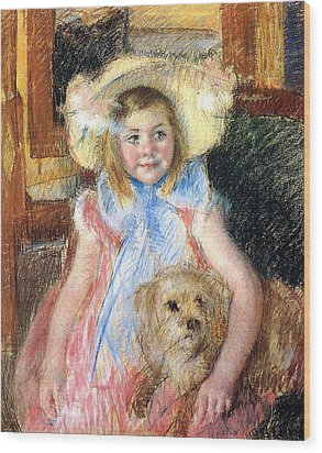 Sara And Her Dog Wood Print by Mary Stevenson Cassatt