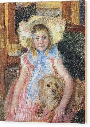 Sara Holding Her Dog Wood Print by Marry Cassatt