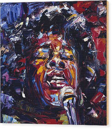 Sarah Vaughan Jazz Face Series Wood Print by Debra Hurd