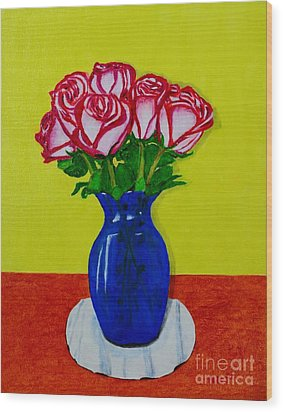 Wood Print featuring the painting Sara's Roses by Melvin Turner