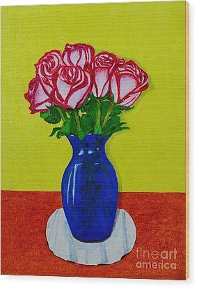 Sara's Roses Wood Print by Melvin Turner