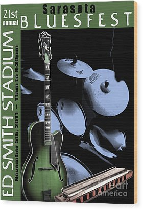 Wood Print featuring the digital art Sarasota Bluesfest-green by Megan Dirsa-DuBois