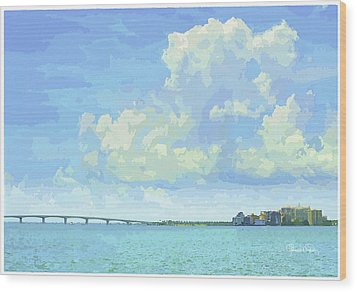 Sarasota Skyline From Sarasota Bay Wood Print