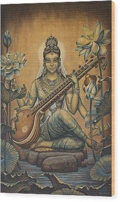 Sarasvati Shakti Wood Print by Vrindavan Das