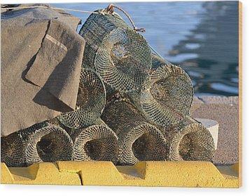 Sardinian Crab Traps Wood Print by Bill Mock