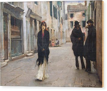 Sargent's Street In Venice Wood Print by Cora Wandel