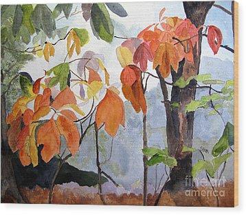 Sassafras Trees On The Ridge Wood Print by Sandy McIntire