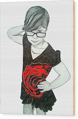 Wood Print featuring the drawing Sassy Izzy by Justin Moore
