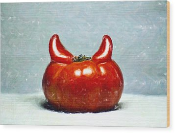 Satans Tomato Wood Print by Aditya Misra