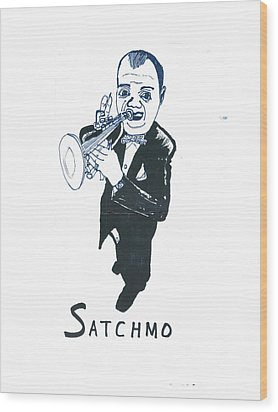 Wood Print featuring the drawing Satchmo by Don Koester