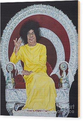 Sathya Sai Baba  Wood Print by Tim Gainey