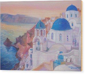 Santorini Greece Wood Print by Paul Weerasekera