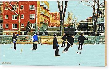 Saturday Afternoon Hockey Practice At The Neighborhood Rink Montreal Winter City Scene Wood Print by Carole Spandau