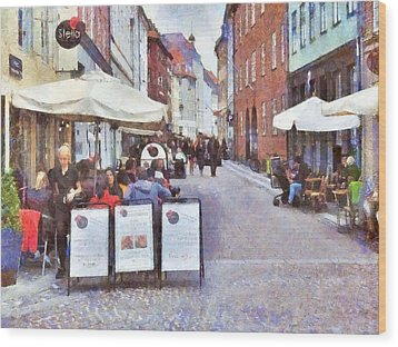 Saturday Brunch At A Copenhagen Cafe Wood Print by Digital Photographic Arts