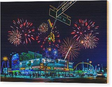 Saturday Night At Coney Island Wood Print