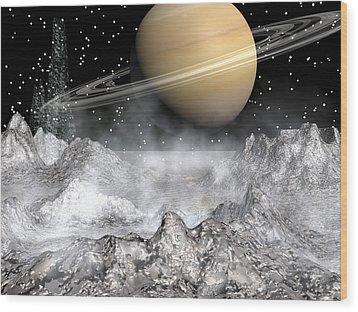 Saturn And Enceladus Wood Print by Michele Wilson