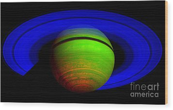 Saturn In Color Wood Print by Paul Ward