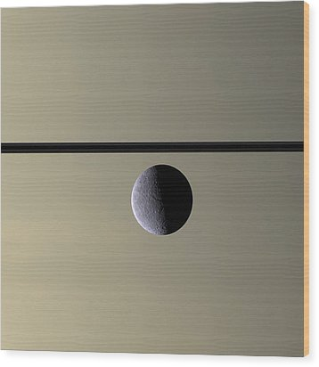 Saturn Rhea Contemporary Abstract Wood Print by Adam Romanowicz
