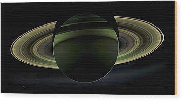 Saturns Glowing Rings Wood Print by Adam Romanowicz