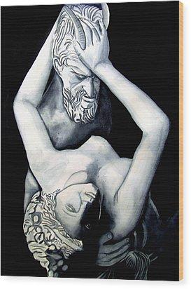 Satyre Et Bacchante Wood Print by Emmanuel Turner