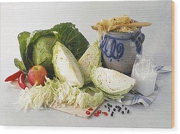 Sauerkraut Ingredients Wood Print by Science Photo Library