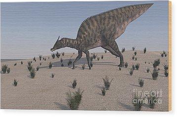 Saurolophus Walking Across A Barren Wood Print by Kostyantyn Ivanyshen