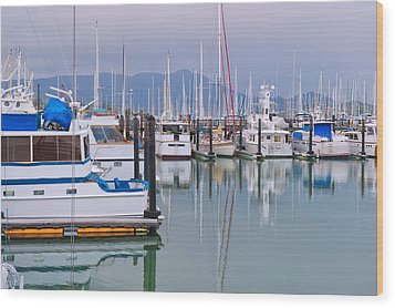 Sausalito Harbor California Wood Print