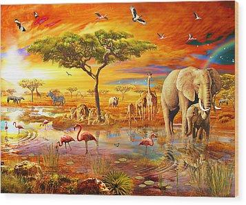 Savanna Pool Wood Print by Adrian Chesterman