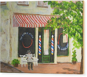 Savannah Barber Shop Wood Print