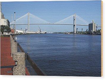 Savannah River Bridge Ga Wood Print