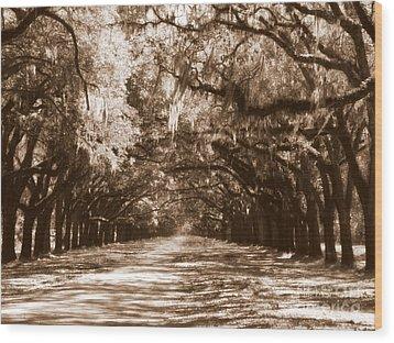 Savannah Sepia - The Old South Wood Print by Carol Groenen
