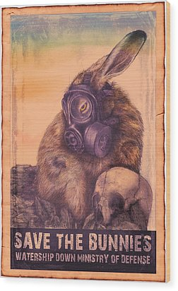 Save The Bunnies Wood Print by Penny Collins