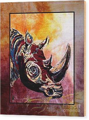 Save The Rhino Wood Print by Sylvie Heasman