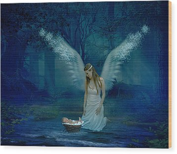 Saved By An Angel Wood Print by Ester  Rogers