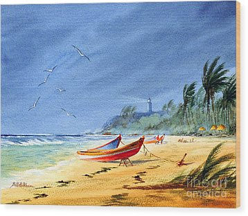 Saving The Fishing Boats - Maunabo Beach Puerto Rico Wood Print by Bill Holkham