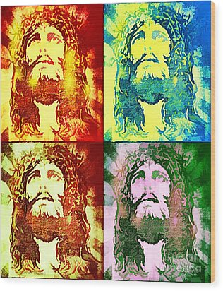 Wood Print featuring the painting Savior Faces by Dave Luebbert