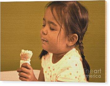 Savour The Flavour Baby Wood Print by Sandi Mikuse
