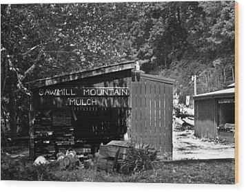 Sawmill In Black And  White Wood Print by John Holloway