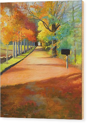 Sawmill Road Autumn Vermont Landscape Wood Print