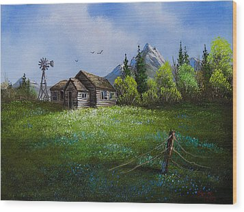 Sawtooth Mountain Homestead Wood Print by C Steele