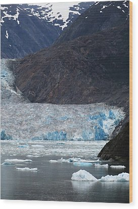 Wood Print featuring the photograph Sawyer Glacier Blue Ice by Jennifer Wheatley Wolf