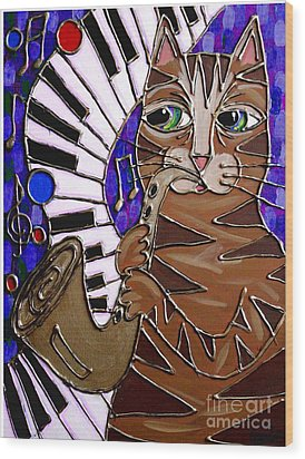 Sax Cat 2 Wood Print by Cynthia Snyder