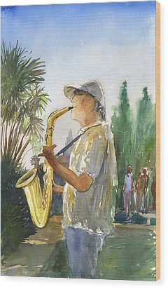 Sax In The Park Wood Print