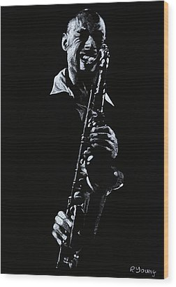 Sax Player Wood Print by Richard Young