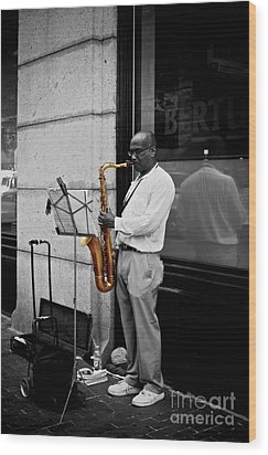 Sax Player  Wood Print