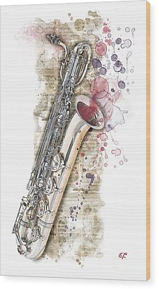 Saxophone 01 - Elena Yakubovich Wood Print