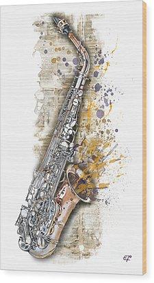 Saxophone 02 - Elena Yakubovich Wood Print