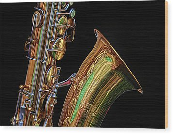Wood Print featuring the photograph Saxophone by Dave Mills