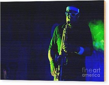 Saxophone Wood Print by Jill Hyland